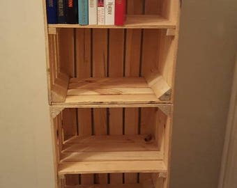 3 x APPLE CRATE with SHELF - Ideal shelving display / bookcase / storage solution / dvd cabinet - handmade apple crate , bushel box