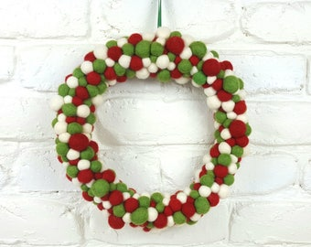 Red White Green Christmas Wreath, Christmas Decoration, Festive Holiday Decor, Door Decor, House Warming Gift, Party Decoration