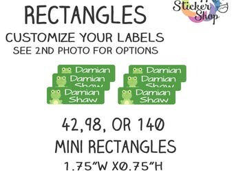 """Kid's Name Label Stickers 1.75"""" x 0.5"""" Mini Rectangles - Waterproof, Dishwasher Safe for School, Daycare, Camp"""