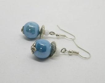 Blue ceramic beads earrings