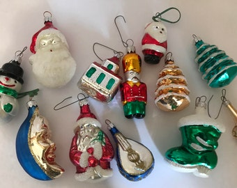 Vintage Set of (12) Hand Blown Glass Ornaments Christmas Ornaments Snowman, Santa Claus Angel- from Poland