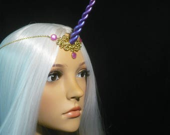 Sunrise Amethyst Unicorn - Tiara with handsculpted Horn