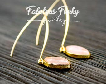gold plated gemstone earrings - soft pink