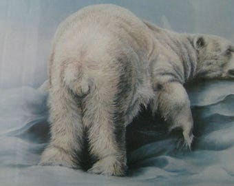REDUCED by 100.00 Dollars, Titled, Problems? Not Me! by Ronilee Lynch, Adorable Polar Bear Napping on a Chunk of Ice!