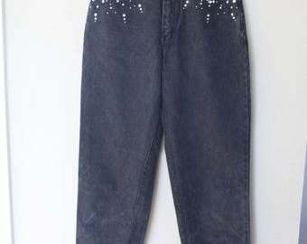 vintage 1980's pepe black high rise rhinestone  mom  jeans denim 28