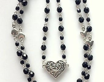 Long Black Beaded Rosary Style Station Necklace With Heart Pendant