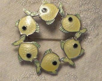 Vintage mid century Volmer Bahner Denmark sterling silver yellow green guilloche enamel school of fish sea life pin brooch