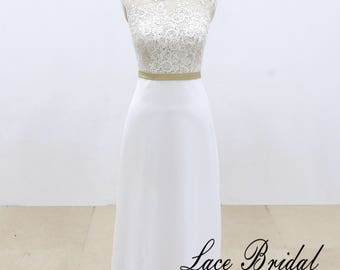 Chiffon with Stretch Lace Beach Wedding Dress, Simple Sheath Bridal Gown Beach Wedding Dress with Sheer Back