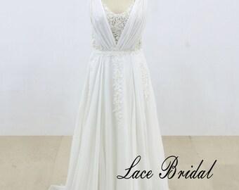 Heavy Beading Lace Wedding Dress Soft Chiffon Wedding Dress with Sexy Back