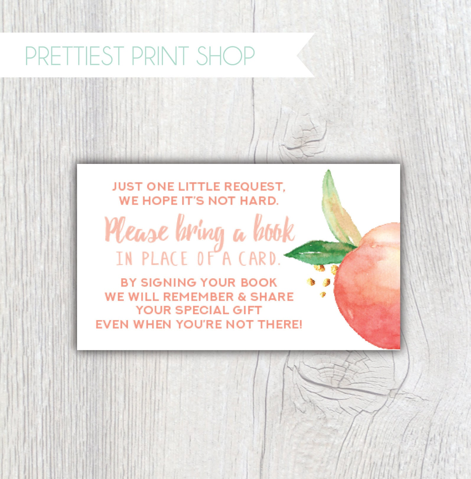 Printable Georgia Peach Baby Shower book card insert Bring a