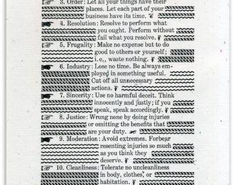 The 13 Virtues of Ben Franklin, letterpress print