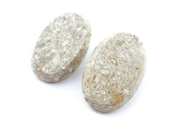 Vintage Speckled Stone Earrings, Clip Ons