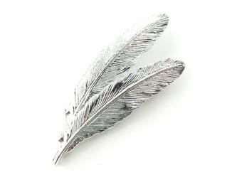 Vintage Gerry's Feather Brooch, Signed, Silver Tone, A28
