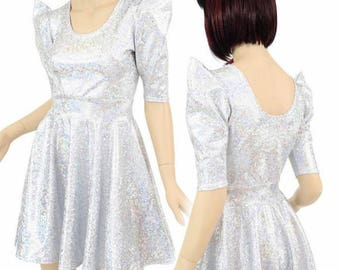 Silver & White Shattered Glass Holographic Sharp Shoulder Half Sleeve Scoop Neck Fit and Flare Skater Dress - 150329