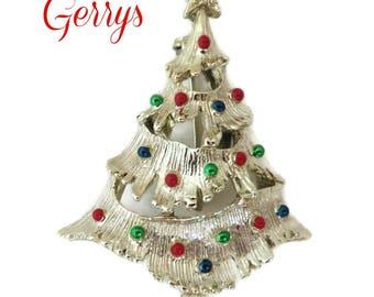 Vintage Brooch - Christmas Tree Brooch, Gerry's Gold Tone Tree Pin, Holiday Brooch