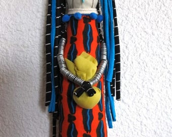 Wax African inspired decorative doll