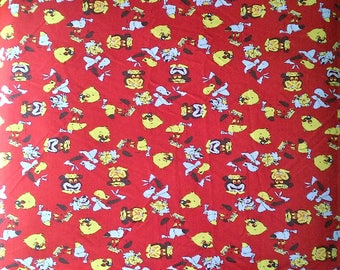 Vintage Hanna Barbera Cartoon Character Polyester Knit Large Fabric Material Remnant - Huckleberry Hound Yogi Bear Quick Draw McGraw 5 X 15