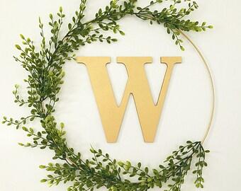 New monogram wreath! Modern wreath, hoop wreath, gold wreath, wreath door, front door wreath