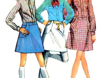 Simpicity 8099 Sewing Pattern Mod Vintage 1960s Misses' A-line  Mini Skirt And Front Button Blouse