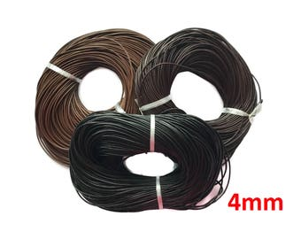 Leather Cord, Genuine Leather, Round, Black, Brown Leather, Necklace cord - 4mm