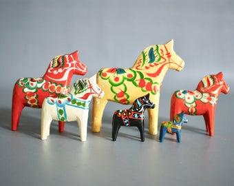 DALA HORSE Figurines by G. A. Olsson, Dala Horse Group, Swedish Wooden Horse, Made in Sweden, Swedish Dala Horse Family, Swedish Folk Art