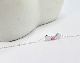 Two Heart Necklace,Pink Opal necklace, Personalized gift, 2 Sisters, Two Best Friends, Birthday Gift,opal heart jewelry. . gift for women