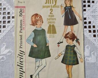 Simplicity 6113 Sewing Pattern Child Girl Jumper Dress Size 4 DIY Vintage Clothing Fashion Sewing Crafts PanchosPorch