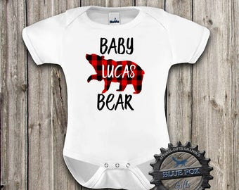 Baby Bear Bodysuit, Buffalo Plaid Bear, Personalized Baby bear, Baby bear shirt, New baby bodysuit, Coming home outfit, DGK_10