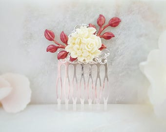 Burgundy Hair Comb - Bridal Hair Accessory Silver - Red Rose Hair Comb - White Flower Comb - Wedding Hair Comb Ivory - Leaf Hair Comb H2042