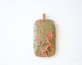 Unakite Tree of life necklace, Unakite jewelry Wire wrapped Unakite necklace, healing crystals and stones, grandmother gift mother gift wife
