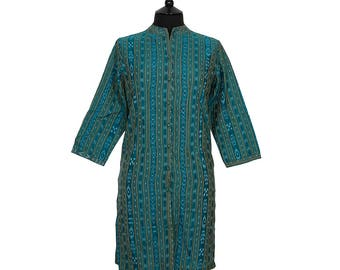 IKAT TUNIC – All sizes – Deep Turquoise with Gold – 100% cotton