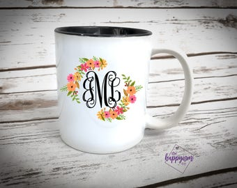 Monogram coffee mug, monogram mug, monogrammed mug, monogram cup, monogrammed cup, custom cup, custom coffee cup, birthday gift, gift ideas