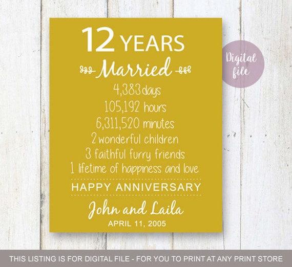 12 Year Wedding Anniversary Gifts