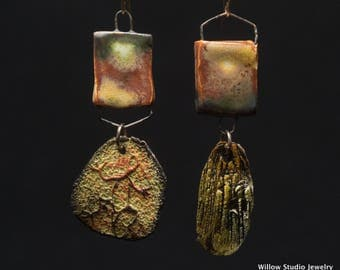 Rustic ceramic earrings in shaded desert colors, an assemblage of textures from early evening, Tinged With Shadow