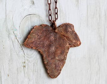 Leaf Pendant Copper Dipped Electroformed Ivy Necklace Autumn Leaves Copper Leaf Back To School Botanical Jewelry