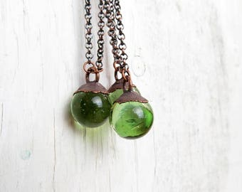 Helenite Pendant Electroformed Necklace Green Glass Mt. St. Helens Pendant Copper Necklace Glass Orb Jewelry Glass Pendant