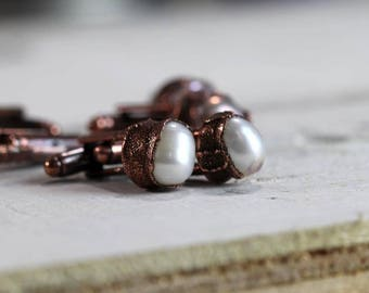 Stone Cufflinks Groomsmen Gift Graduation Pearl Cuff Links Copper Cufflinks Electroformed Cufflinks Best Man Wedding Gift