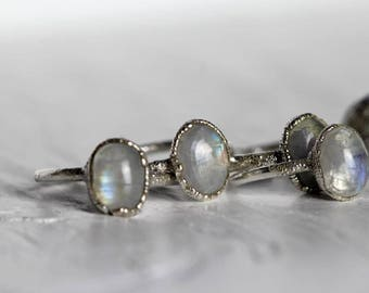 Moonstone Ring Engagement Ring Silver Rainbow Moonstone Ring Electroformed Ring Silver Ring Gemstone Ring Fine Silver Ring