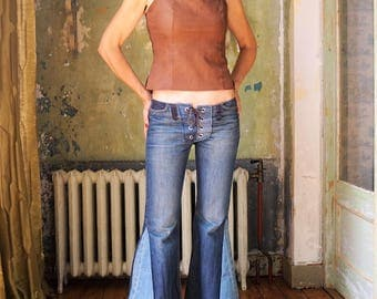 Hippie Pants,  Low waist denim lace up bell bottoms Hippie Chick upcycled  size 28/size S