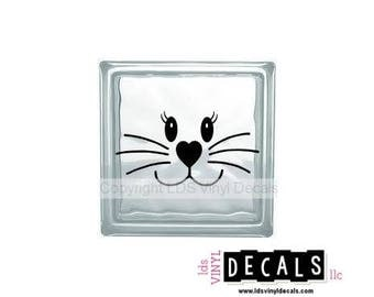 Bunny Rabbit Face - Easter Vinyl Lettering for Glass Blocks - Craft Decals