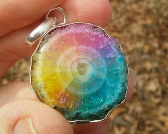 Colorful geode crystal quartz pendant necklace.