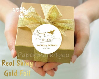 24 Real Gold Foil Mint to Bee_ Foil Wedding Personalized Tag _ Personalizable Text in Your Language_ Grazie Tag_Merci_ ありがとうございました_Gracias
