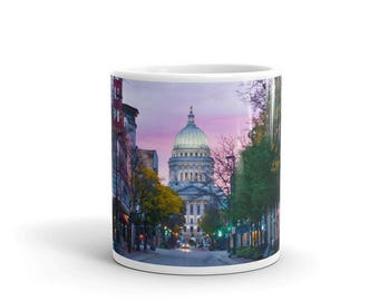 Photo Mug for Coffee or Tea - Madison, Capital, State Street, Orpheum Autumn Fall Photo Coffee Cup - Ceramic Glossy - Large or Small
