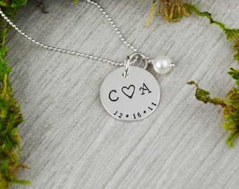 Custom Date and Initial Necklace with Freshwater Pearl - Hand Stamped  Wedding Gift - Anniversary or Valentine Gift
