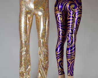 Gold Holograph Hercules Pants // Rocker Print Holographic Rockstar Leggings // Great Burning Man Costume