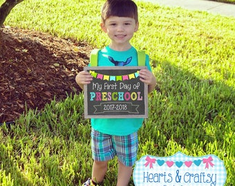 First Day of School Sign / Printable Back To School Sign / First Day of Preschool / First Day of School Chalkboard Sign - FILE to PRINT