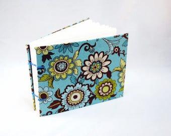 Cerulean Garden - Blank Journal - Handcrafted Book - Coptic Binding - White Paper