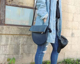 The Half Moon - Blue Vegan Leather Cross Body Bag with Zipper and Rope Strap