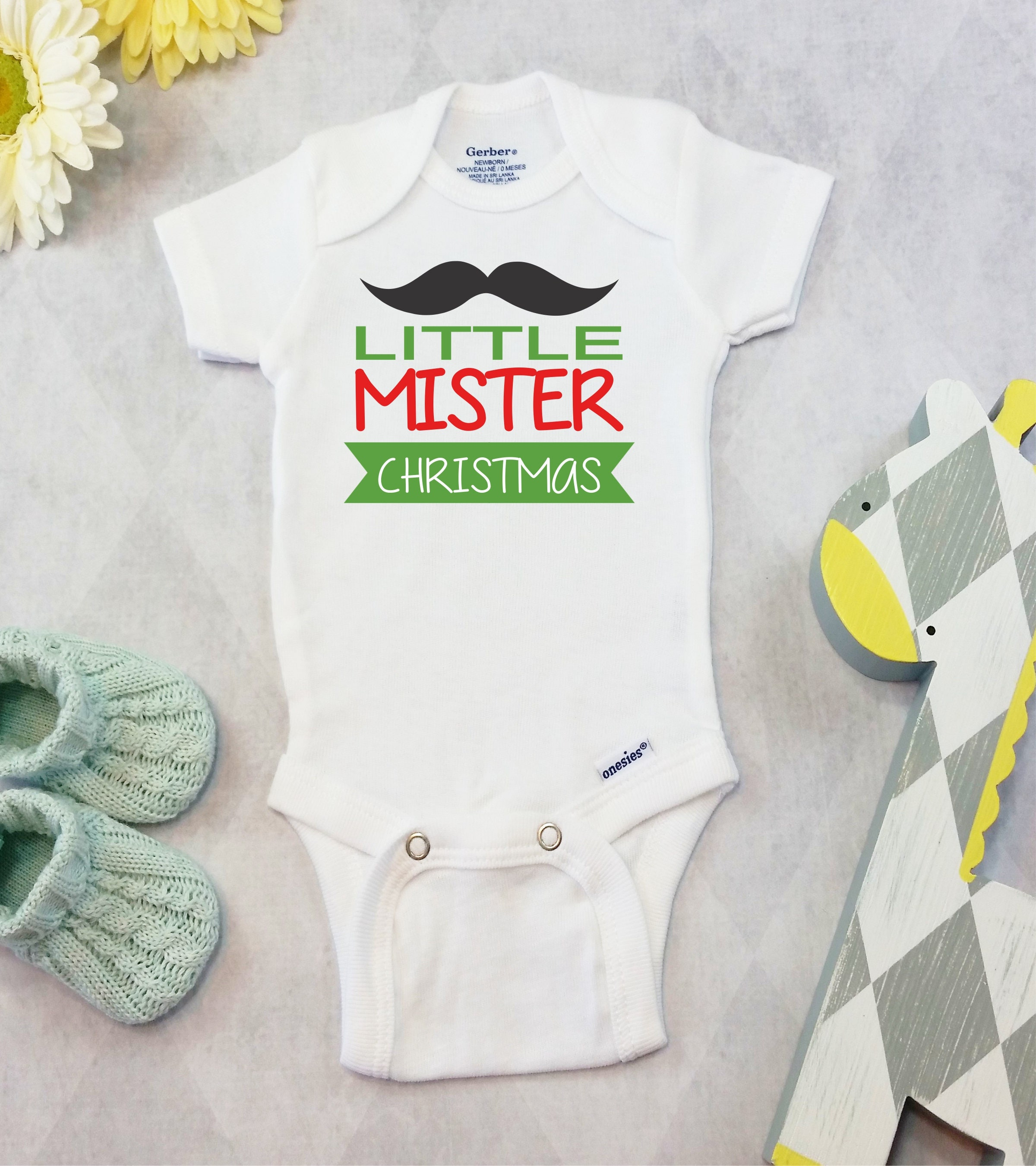 Christmas Onesies Brand Bodysuit Baby Boy Mustache Shirt First
