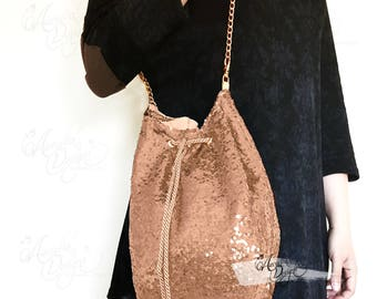 Rose Gold Sequin Drawstring Purse with Golden Shoulder Chain | Sparkle Bling Custom Bucket Bag for Bridal Shower Party Bridesmaid Girls Gift